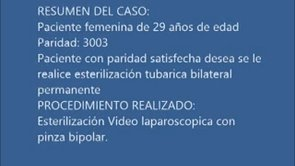 Video de Esterilizaci�n tub�rica por video laparoscop�a